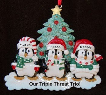 3 Styling Penguins, Our Fabulous Grandkids Personalized Christmas Ornament