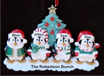 4 Winter Penguins Family Personalized Christmas Ornament