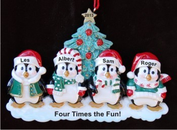 4 Styling Penguins, Our Fabulous Grandkids Christmas Ornament Personalized by Russell Rhodes