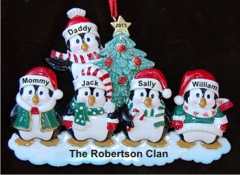 5 Winter Penguins Family Christmas Ornament