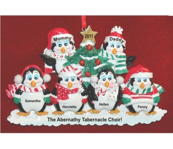 6 Winter Penguins Family Personalized Christmas Ornament