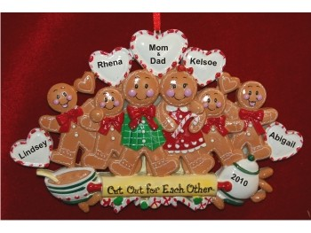 6 holiday gingerbread family personalized christmas ornament