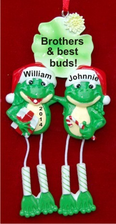 Frogs are Fun! Brothers Christmas Ornament