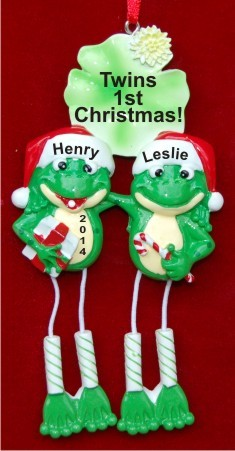 Frogs are Fun! Twins Christmas Ornament Personalized by Russell Rhodes