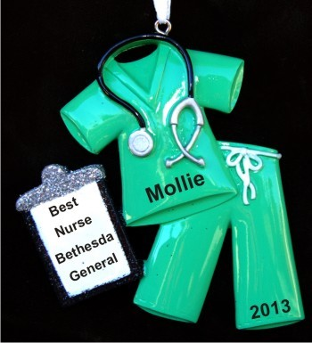 Medical Scrubs Green Christmas Ornament Personalized