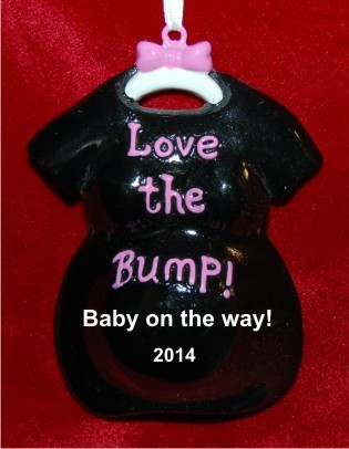 Love the Baby Bump! Black Personalized Christmas Ornament