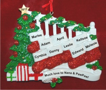 Grankids Stockings Hang with Love 9 Christmas Ornament Personalized by Russell Rhodes