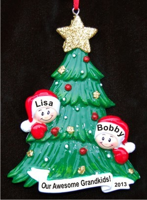 My Two Grandkids Looking Out for Santa Christmas Ornament Personalized