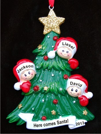 Our Three Awesome Kids Looking Out for Santa Christmas Ornament Personalized by Russell Rhodes
