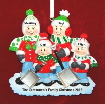 Snow much fun family of 4 hand personalized christmas for Family of 4 christmas ornament