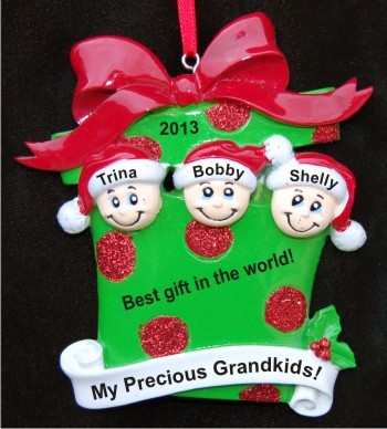 My Precious 3 Grandkids Greatest Gift Christmas Ornament Personalized
