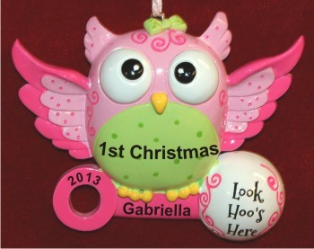 What a Hoot! Baby Girl's First Christmas Christmas Ornament New ...