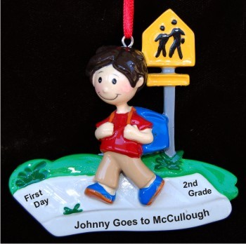 Boy's First Day in (Specify Number) Grade Christmas Ornament Personalized