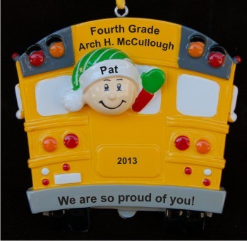 4th Grade School Bus  Christmas Ornament Personalized