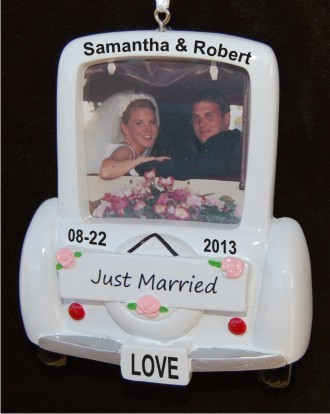 Wedding Car Frame Christmas Ornament Personalized