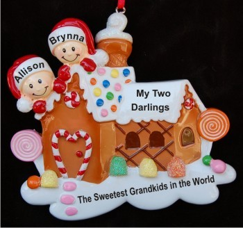 Gingerbread House Two Grandkids Christmas Ornament Personalized