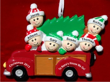 To Grandma's House 6 Grandkids Christmas Ornament Personalized by Russell Rhodes