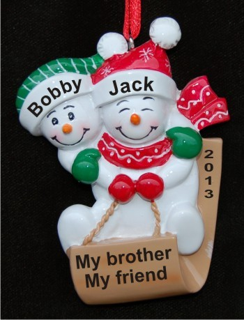 2 Brothers Joy of Winter Sledding Christmas Ornament Personalized