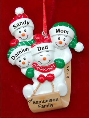 Sledding fun family of 4 hand personalized christmas for Family of 4 christmas ornament