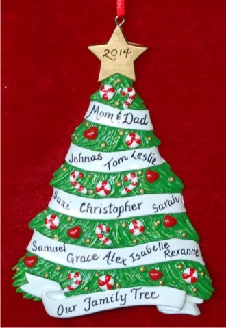 My grandkids christmas tree up to 14 people hand for Custom christmas tree ornaments