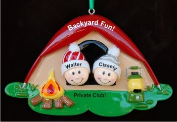 Camping in the Backyard for Kids Christmas Ornament Personalized