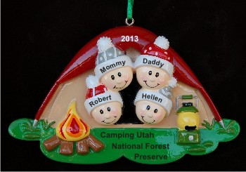 Camping tent for family of 4 christmas ornament for Family of 4 christmas ornament