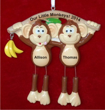Monkey See Monkey Do 2 Grandkids Christmas Ornament Personalized by Russell Rhodes