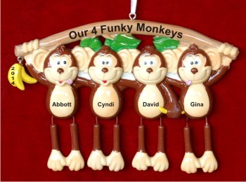 Monkey See Monkey Do Our 4 Grandchildren Christmas Ornament Personalized by Russell Rhodes