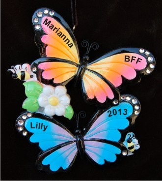 Butterflies for BFF Christmas Ornament Personalized