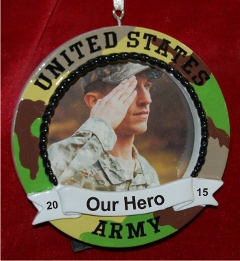Army Photo Frame Camo with Easel Christmas Ornament Personalized by Russell Rhodes
