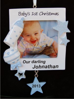 Our Darling Babys 1st Christmas Frame Boy Hand Personalized