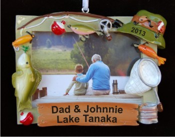 Grandpa and Me Fishing Theme Photo Frame Christmas Ornament Personalized