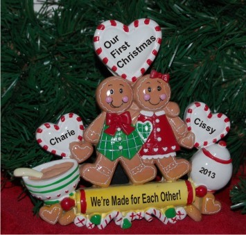 Our First Christmas Gingerbread Couple Tabletop Christmas Decoration