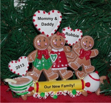 Gingerbread Family of 3 Newly Adopted Child Tabletop Chistmas Decoration