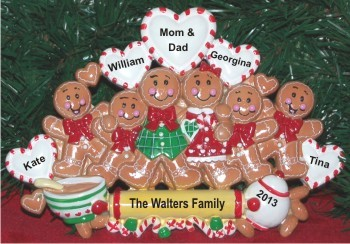 Gingerbread Family of 6 Tabletop Chistmas Decoration