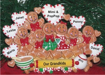 One or Both Grandparents with Their 7 Grandkids Tabletop Christmas Decoration