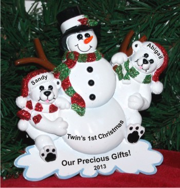 Twins' First Christmas Tabletop Decoration Personalized by Russell Rhodes