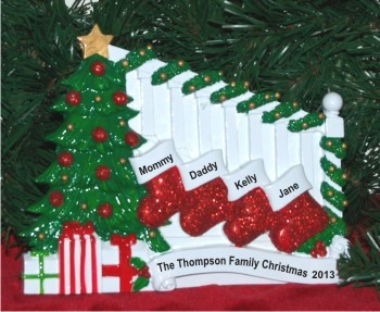 Tabletop Holiday Banister for Family of 4 Christmas Ornament Personalized by Russell Rhodes