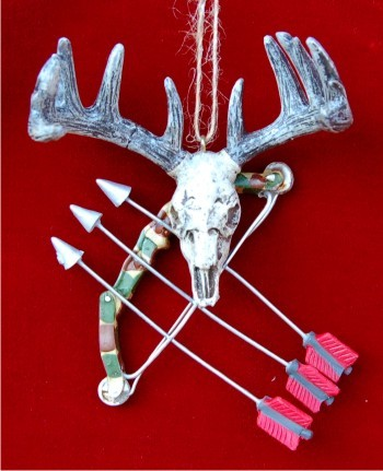 Deer Skull with Hunting Bow Christmas Ornament