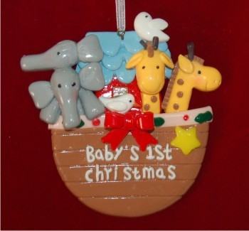 Noah's Ark Made by Hand Christmas Ornament Personalized by Russell Rhodes