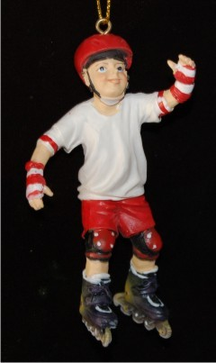 Boy Roller Blading Christmas Ornament Personalized by Russell Rhodes