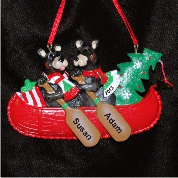 Black Bear Family of 2 Christmas Ornament Personalized