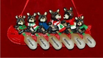 Black Bear Family of 6 Christmas Ornament
