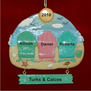 Beach Family of 3 Vacation Personalized Christmas Ornament