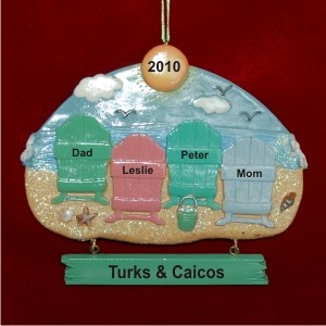 Beach Family of 4 Vacation Personalized Christmas Ornament