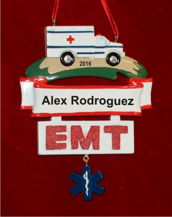 EMT on the Go! Christmas Ornament - EMT On The Go! Hand Personalized Christmas Ornaments By Russell Rhodes