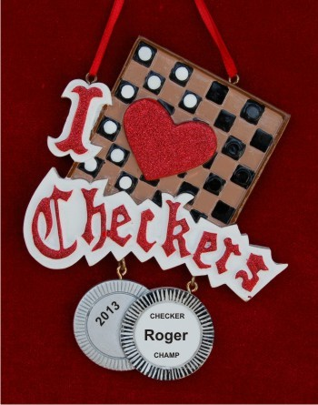 I love Checkers Personalized Christmas Ornament