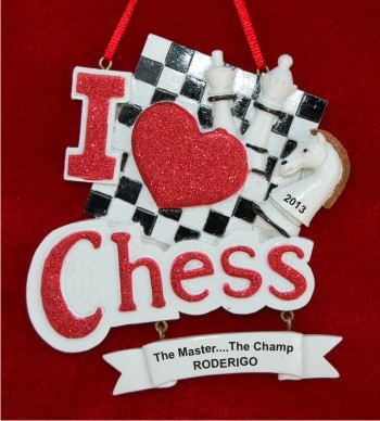 I love Chess Personalized Christmas Ornament