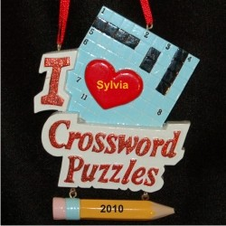 I Love Crossword Personalized Christmas Ornament