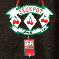Jackpot 3 Double Cherries & a Triple 7 Personalized Christmas Ornament